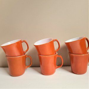 6 Vintage Corning Burning Orange Color Coffee Mugs
